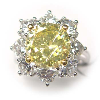 View 3.26ct Fancy Yellow Diamond Ring