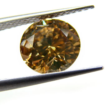 View 2.01 ct. Round Fancy Deep Brown Cognac