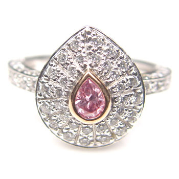 View .20ct Fancy Intense Pink Ring