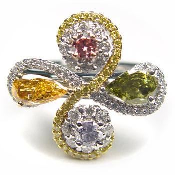 View 1.01ct Mix Color and Shape Flower Ring