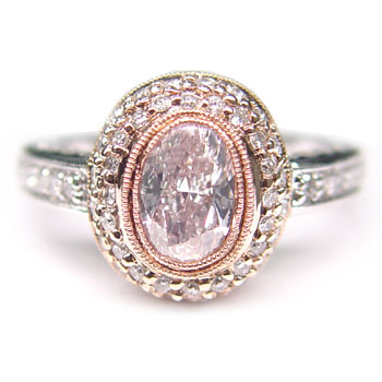 three filigree emerald center fancy ring uneek thrree natureal platinum pink with engagement qrtr rose in rings stone cut light gold accents
