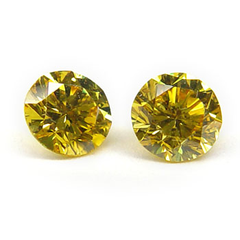 View 0.46 ct. Round Fancy Vivid Yellow (Pair)