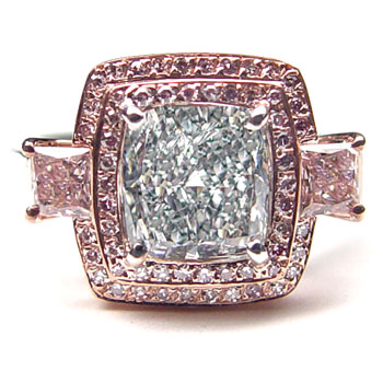 View 1.67ct Fancy L. Blueish Green Diamond Ring
