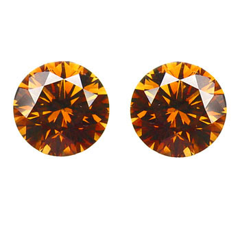 View 0.63 ct. Round Fancy Deep b. Orange (pair)