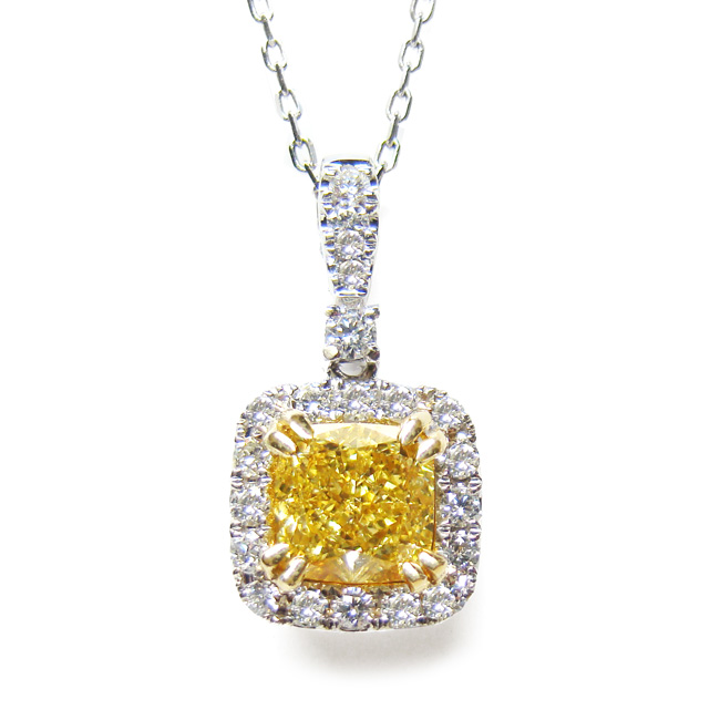 View 1.29 ct. Cushion Fancy Deep Yellow