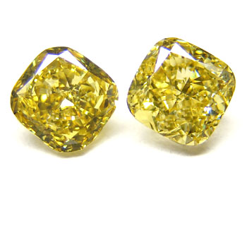 View 2.31 ct. Cushion Fancy Deep Yellow (Pair)