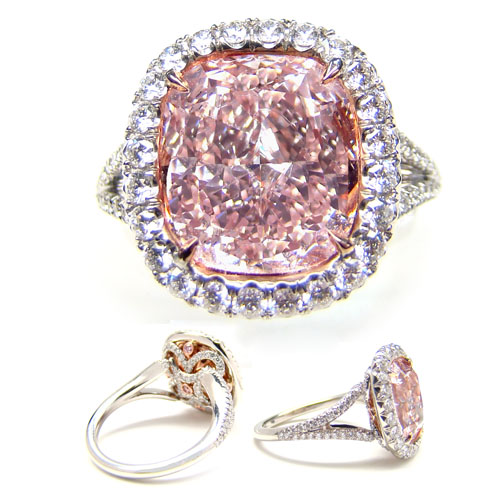 View 4.03 ct. Cushion Fancy Purplish Pink