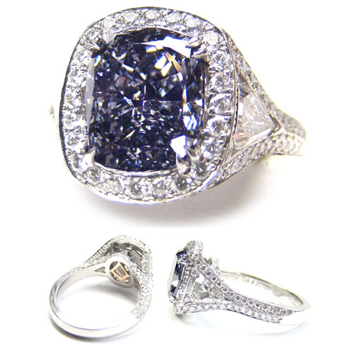 View 3.11 ct. Cushion Fancy DARK Gray-BLUE (Flawless)