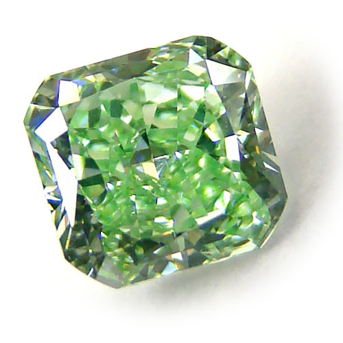 View 0.52 ct. Radiant Fancy VIVID y. GREEN!