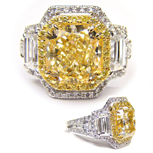 View 5.14ct Fancy Yellow Diamond Ring