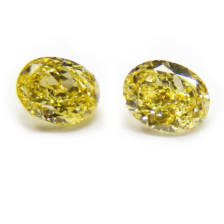 View 0.9 ct. Oval Fancy Vivid Yellow (Pair)