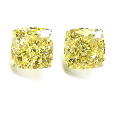 View 1.58 ct. Radiant Fancy Yellow - Pair (Flawless/VVS2)