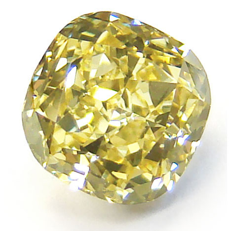 View 1.36 ct. Cushion Fancy b. Greenish-Yellow (Flawless)