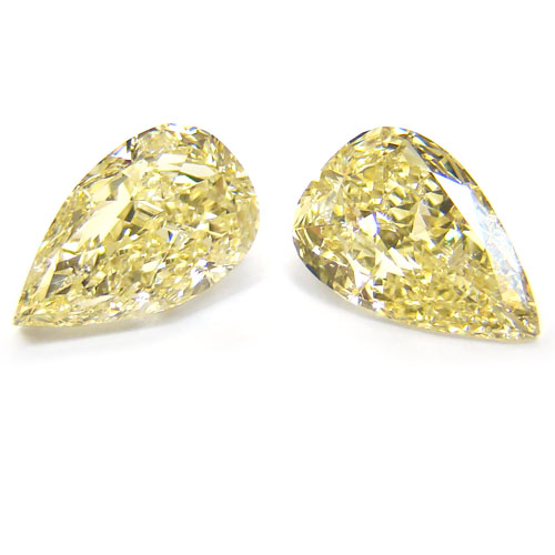 View 2.9 ct. Pear Shape Fancy Light Yellow (Pair)
