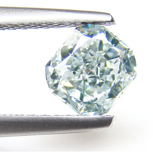 View 1.02 ct. Radiant Fancy Light Bluish Green (Flawless)
