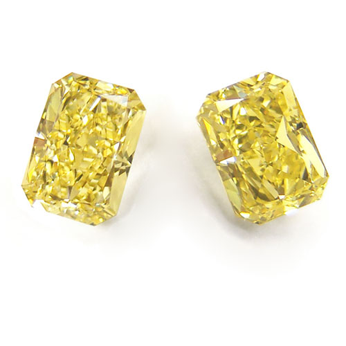 View 2.01 ct. Radiant Fancy Intense Yellow (Pair)