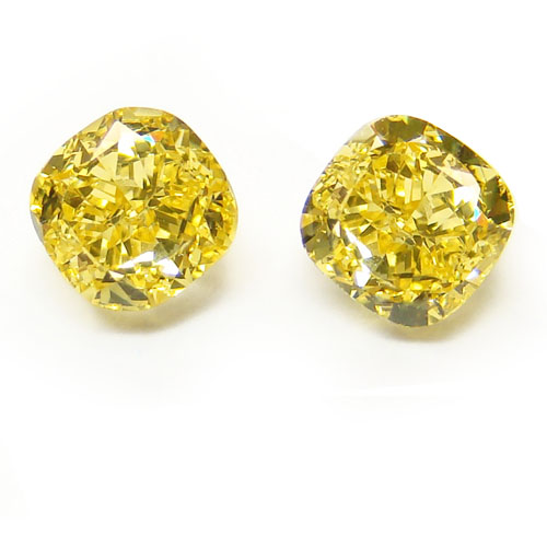 View 2.72 ct. Cushion Fancy Vivid Yellow (Pair)