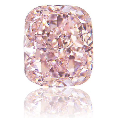 View 5.63 ct. Cushion Fancy Orangy Pink