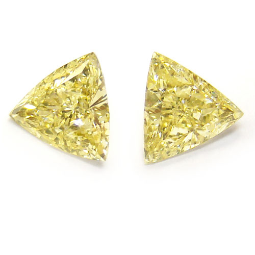 View 1.08 ct. Triangular Fancy Yellow (Pair)