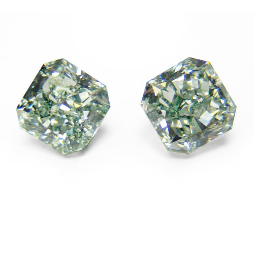 View 1.41 ct. Radiant Fancy Green (Pair)