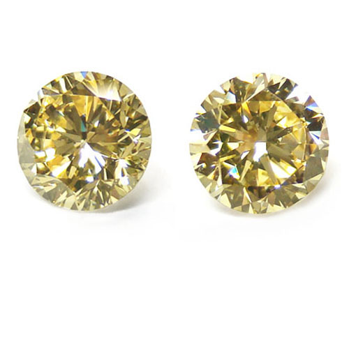 View 2 ct. Round Fancy Yellow (Pair)