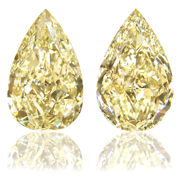 View 10.88 ct. Pear Shape Fancy Light Yellow (Pair)