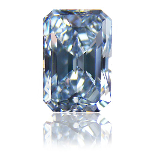 View 0.87 ct. Emerald Cut FANCY INTENSE BLUE