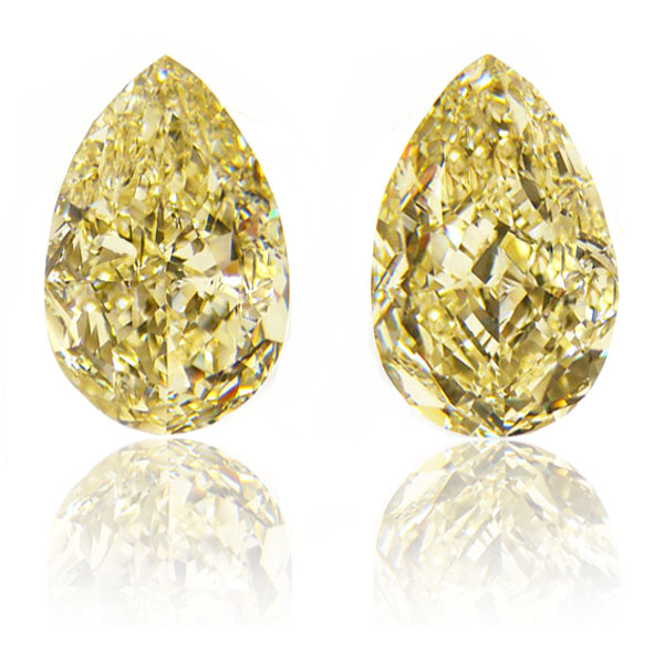 View 10.61 ct. Pear Shape Fancy Yellow (Pair)