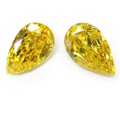 View 1.33 ct. Pear Shape Fancy Vivid Yellow (Pair)