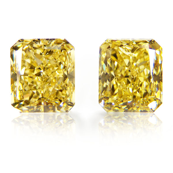 View 3.08 ct. Radiant Fancy Intense Yellow (Pair)