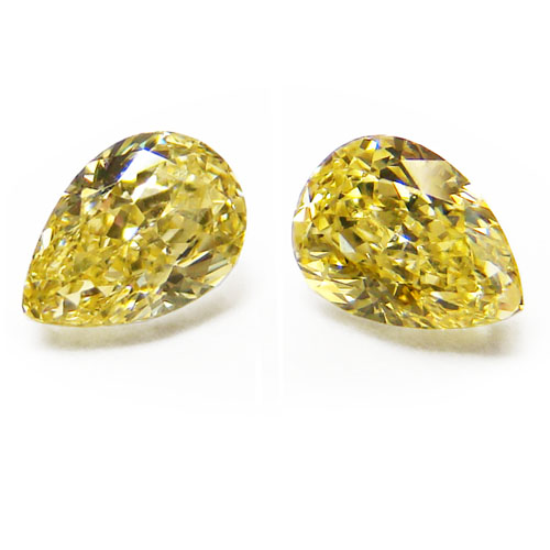 View 0.87 ct. Pear Shape Fancy Intense Yellow (Pair)