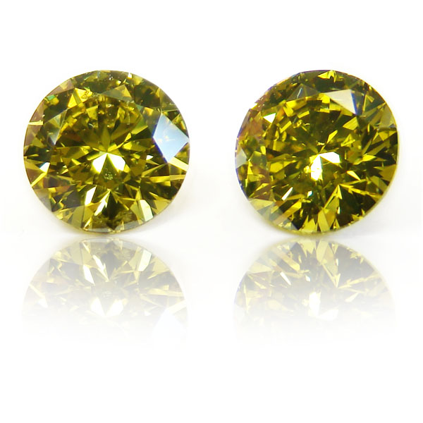 View 2.04 ct. Round Fancy DEEP b. g. Yellow (Pair)