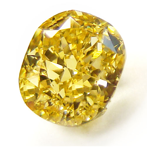View 1.02 ct. Cushion Fancy Vivid Yellow (Flawless)