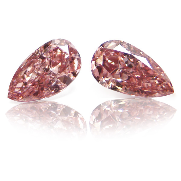 View 0.7 ct. Pear Shape Fancy Intense o. Pink (Pair)