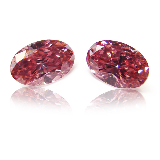 View 0.72 ct. Oval Fancy Deep Pink (Argyle - Pair)