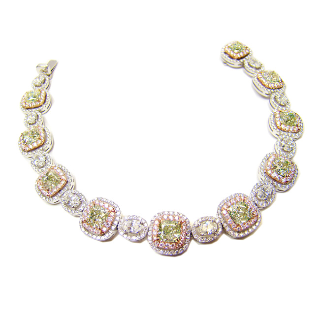 View 11.49 ct. Radiant Light Green Yellow (Diamond Bracelet)