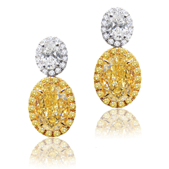 View 4.12 ct. Oval Fancy Yellow (Pair, Earrings)