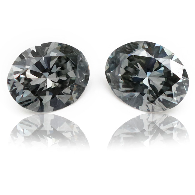 View 2.55 ct. Oval Fancy Dark Gray (Pair)