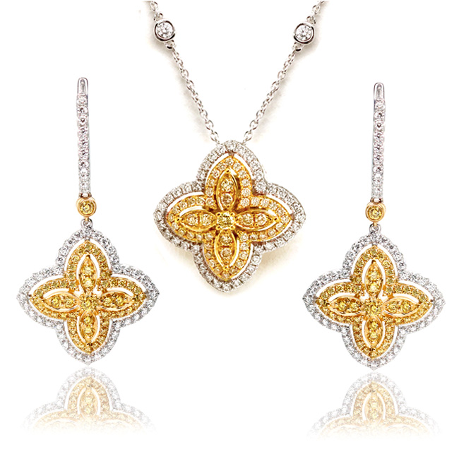 View 2.38 ct. Round Yellow Diamond Jewelry Set