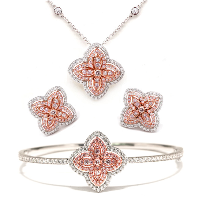View 2.1 ct. Round Pink Diamond Jewelry Set