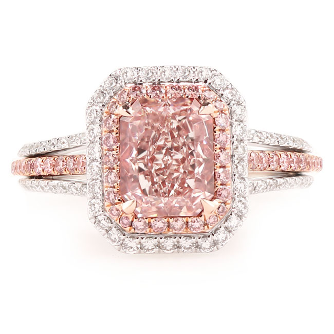 View 2.01 ct. Radiant Fancy Light Orangy Pink