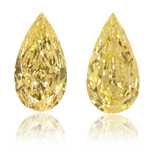View 13.64 ct. Pear Shape Fancy Yellow - Pair (Flawless/VS2)